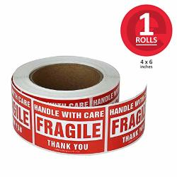 Enko - 4 X 6 Inch Large Fragile Stickers Handle With Care Warning Packing Shipping Label - Permanent Adhesive 1 Roll 500 Labels