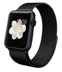 38MM 40MM Magnetic Milanese Strap For Apple Watch - Black