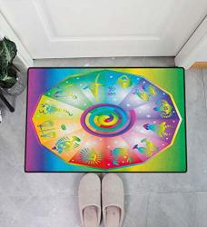 "Badamadecor Astrology Soft Indoor Door Mat Hippie Style Rainbow Colored Stars Backdrop With Horoscope Signs Image Door Mats For Bathroom 31"" W X 47"" L Multicolor"
