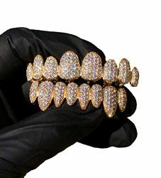 14K Plated Joker Gold Grillz For Mouth Top Bottom Hip Hop Teeth Grills For Teeth Mouth Grillz For Mouth Top Bottom Hip Hop 8