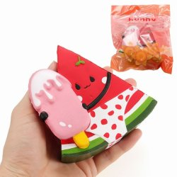 Squishy Watermelon Wearing Swimwear Holding Ice-lolly 11cm Slow Rising With Pack