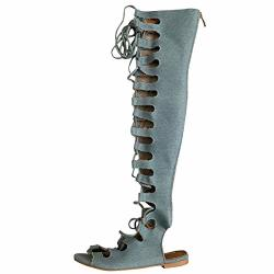 Cape Robbin Womens Open Toe Lace Up Gladiator Over The Knee Thigh High Caged Flat Sandal Boot 8 Denim