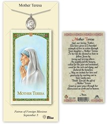 Pewter Blessed Teresa Of Calcutta Medal With Laminated Holy Prayer Card