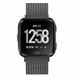 METAL Fitlink Bands Compatible For Fitbit Versa versa Lite Edition versa 2 Smart Watch For Women And Men Small And Large Multi-color Graphite Large
