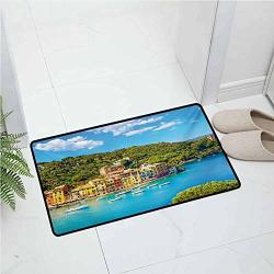 Anmaseven Italy Rubber Door Mat Home Decoration Door Mat 17X24 Inch Portofino Landmark Aerial Panoramic View Village And Yacht Little Bay Harbor