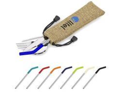 Kooshty Safari Cutlery & Straw Set - Black