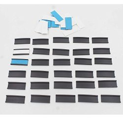 Yi Ya Su 30 Magnetic Data Card Holders Lineup Tabs 0.5 X 1.5 Inches Magnetic Label C-channel Shelf Labels - With 30 White Precut Cards And 30 Blue Precut Cards