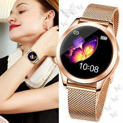 Rose Gold Smartdaily Smart Watch For Women Color Touch Screen Ladies Smartwatch Waterproof IP68 Women Fitness Tracker With Heart Rate Pedometer Calories For Aandroid iphone