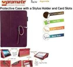 Promate Agenda Premium Protective Leather Case With Stylus Holder And Card Slot For Ipad Air-purple Retail Box 1 Year Warranty