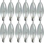 8-Pack GE Lighting Crystal Clear 66104 25-Watt 220-Lumen Bent Tip Light Bulb with Candelabra Base