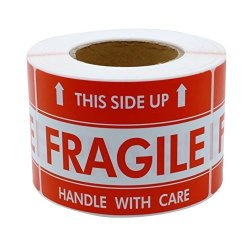 """Hybsk 2""""3"""" Handle With Care This Side Up Fragile Stickers Adhesive Label 300 Per Roll"""