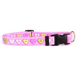 """Yellow Dog Design Sweethearts Dog Collar With Tag-a-long Id Tag SYSTEM-MEDIUM-1"""" And Fits Neck 14 To 20"""
