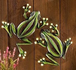 A Set Of 2 Metal Wall Frog Glow In The Dark Indoor Outdoor Accent Decor