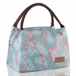 Buringer Reusable Insulated Lunch Bag Cooler Tote Box Meal Prep For Men & Women Work Picnic Or Travel Blue Flamingos Large Size