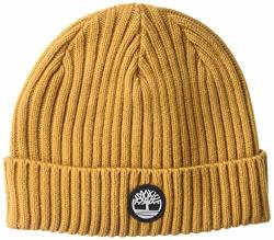 Timberland Men's Ribbed Watch Cap Patch Wheat rubber Logo One Size