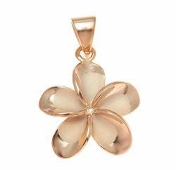 Arthur's Jewelry 925 Sterling Silver Pink Rose Gold Plated Hawaiian Plumeria Flower No Cz Stone Pendant 20MM