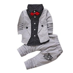 ab42d518e9ba WuyiMC Baby Accessories Wuyimc Clearance Baby Boy Suit Clothes Set Formal  Party Christening Wedding Tuxedo Bow Suit Gray 4T