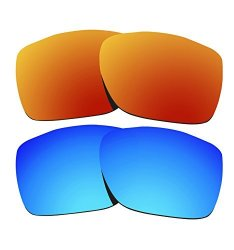 98ee1bd0ae645 COLOR STAY LENSES 2 Pairs 2.0MM Thickness Polarized Replacement Lenses For  Oakley Twoface XL 009350 Fire Red   Blue