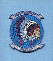 Embroidered Patch-patches For Women Man- HSL-42 Proud Warriors Us Navy Sikorsky Seahawk