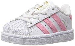 Adidas Originals Girls' Superstar I Sneaker White clear Light Pink Metallic gold 4 M Us Toddler
