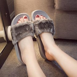 AMA TM Women Soft Plush Flat Slippers Winter Autumn Home Bedroom Slippers US:6.5 Gray