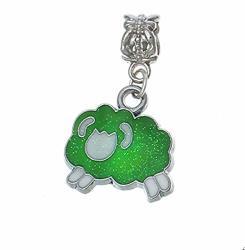Albatros Zodiac Aries RAM Green White Enamel Dangle Bead Fits European Charm Bracelets Crafting Key Chain Bracelet Necklace Jewelry Accessories Pendants