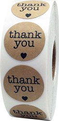 InStockLabels.com Natural Kraft Thank You Stickers With Hearts Appreciation Labels 1 Inch 500 Adhesive Stickers