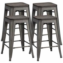 Yaheetech 24 Inches Metal Bar Stools Counter Stool Indoor outdoor Stackable Barstools Counter Wood Top seat Bar Stools Set Of 4