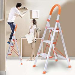 1KTON Us Spot 3-STEP Folding Step Stool Aluminum Step Ladder With Handle Anti-skid Wide Pedal Ladder 16.5 X 23.2 X 46.5 Inches White