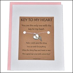 Fresh Prints Of CT Key To My Heart With Heart Lock And Key Charm - Charmed Greeting