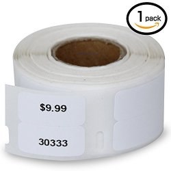 "BETCKEY 1 Rolls Dymo 30333 Compatible 1 2"" X 1"" 12MM X 24MM Labelwriter Self-adhesive White Extra Small 2-UP Multipurpose Labels"