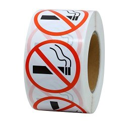 "Hybsk Tm No Smoking Logo Warning Stickers 1.5"" Round Circle Teacher Labels 500 Total Per Roll"