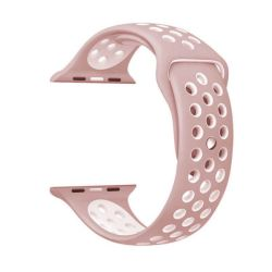 Light Pink And White 42MM M l Nike Style Strap Band For Apple Watch
