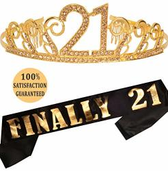 MEANT2TOBE 21ST Birthday Party Decoration Kit Gold 21ST Birthday Tiara And  Sash Happy 21ST Birthday Party Supplies Finally 21 Gl | R | Educational |