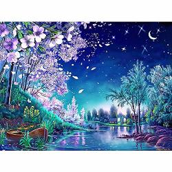 Sunnysport Diamond Painting Kits 5D Diy Christmas Full-crystal Rhinestone Painting-decorating Cabinet Table Stickers For Study Room Flower Painting 40CM30CM_A