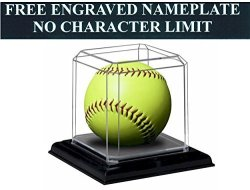 "PIONEER PLASTICS Softball Personalized Engraved Acrylic Display Case With Beveled Edges And Removable Black Base For An 11"" Or 12"" Ball"