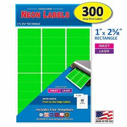 Pack Of 300 1 X 2-5 8 Inch Neon Green Mailing Address Labels For Laser And Inkjet Printers Rectangle Assorted Neon Fluorescent Colors 1 X 2.625 In.