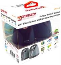 Promate IROCK.2 Portable MINI Hi Fi Speakers With 3.5 Audio Input And Expandable Magnetic Base Retail Box 1 Year Warranty
