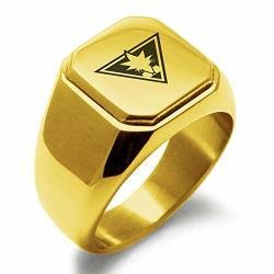 Tioneer Yu-gi-oh Yami Yugi Gold Plated Stainless Steel Classic Square Flat Top Biker Style Polished Ring Size 15.5