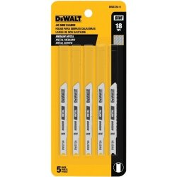 DEWALT Jigsaw Blades Medium Metal Cutting U-shank 3-INCH 18-TPI 5-PACK DW37245