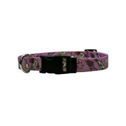 """Yellow Dog Design Wine Crazy Dog Collar With Tag-a-long Id Tag SYSTEM-MEDIUM-1"""" And Fits Neck 14 To 20"""