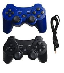 PS3 Controller Wireless Bluetooth Controller With Charger Cable - 2 Pack Blue And Black - Compatible With Playstation 3 PS3