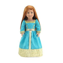 Emily Rose 18 Inch Doll Clothes Gorgeous Merida-inspired Princess Ball Gown Outfit With Glittery Accents And Silky Ribbon Fits A
