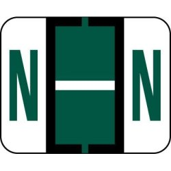 Amzfiling Alphabetic Color Code Labels Compatible With Smead Bccr- Letter N Dark Green 120 PACKAGE