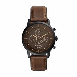 Men's Fossil Collider Hr Heart Rate Stainless Steel And Leather Hybrid Smartwatch Color: Black Brown FTW7008