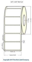 "Durafast 4"" X 3"" White Inkjet Matte Bopp Paper Label Roll For Primera LX400 LX500 LX500C Color Label Printers 600 Labels roll On A 2"" Core - 5"" Od"