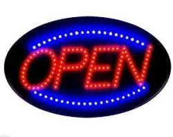 """E-onsale 2017 Latest Jumbo 24"""" X 13"""" LED Neon Sign With Motion - """"open"""" Blue red B30"""