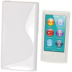 Igadgitz Dual Tone White Durable Crystal Gel Skin Tpu Case Cover For Apple Ipod Nano 7TH Generation 7G 16GB + Screen Protector