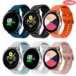 Junboer Silicone Band Compatible With Samsung Galaxy Watch ACTIVE ACTIVE2 40MM 44MM Band 20MM Silicone Sport Band Dark Blue+black+orange+light Blue+white+pink