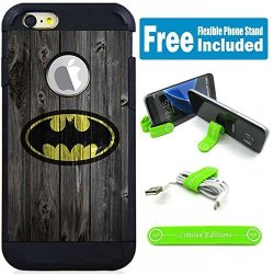 """Limited Editions Apple Iphone 7 4.7"""" Hybrid Armor Defender Case Cover With Flexible Phone Stand - Batman Wood"""
